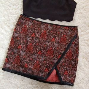 Express Leather Trim Skirt NWOT